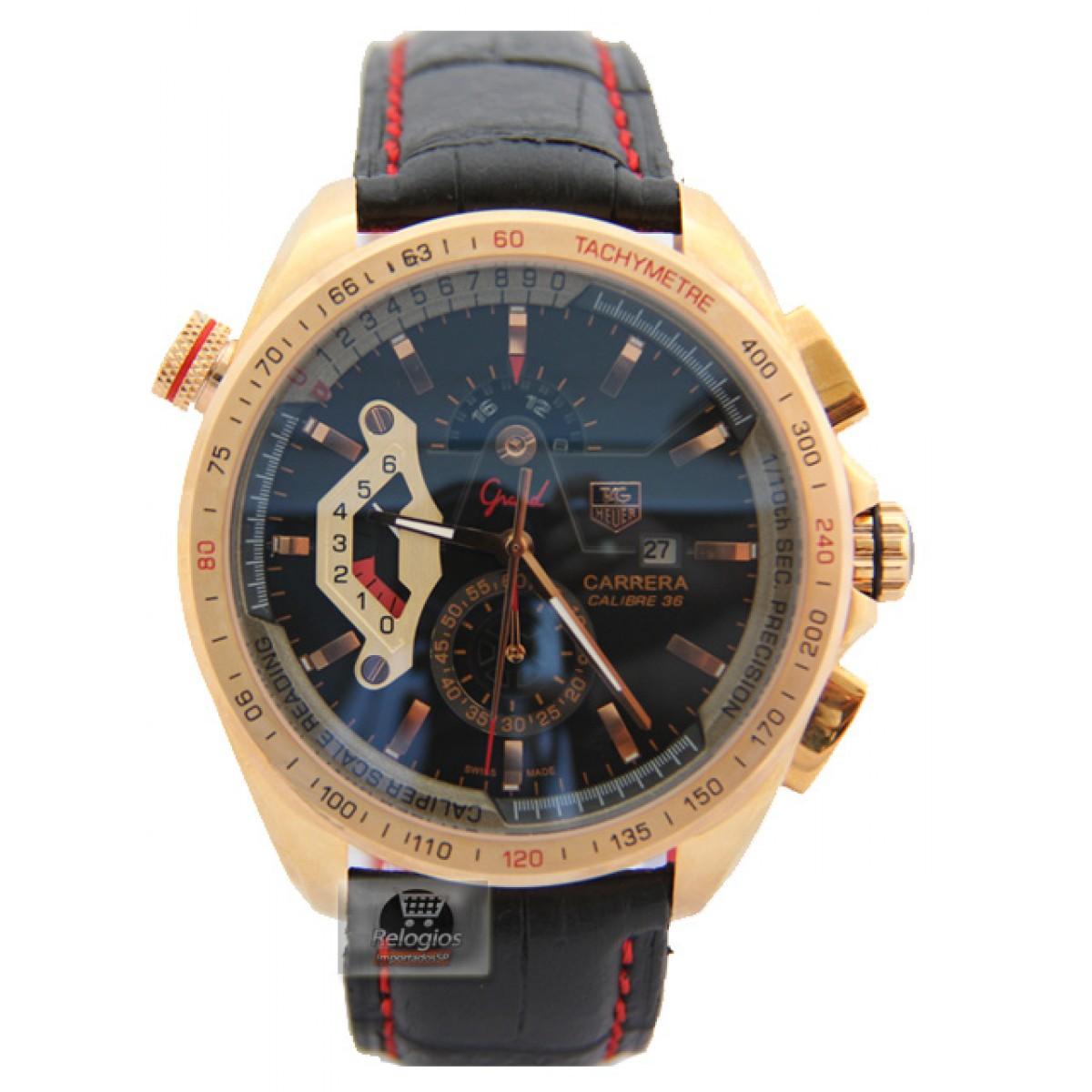 2e8210eba49 Relógio RéplicaTag Heuer Grand Carrera Calibre 36 Rose Black