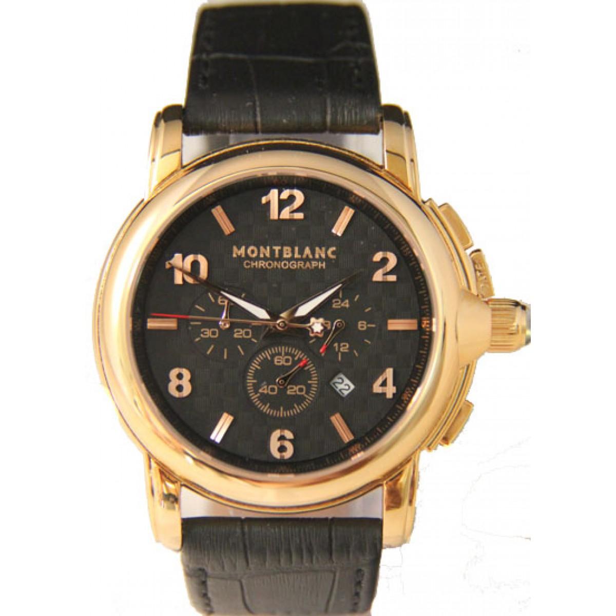 9e38ad641b6 Relógio Réplica Montblanc Chronograph Gold Black