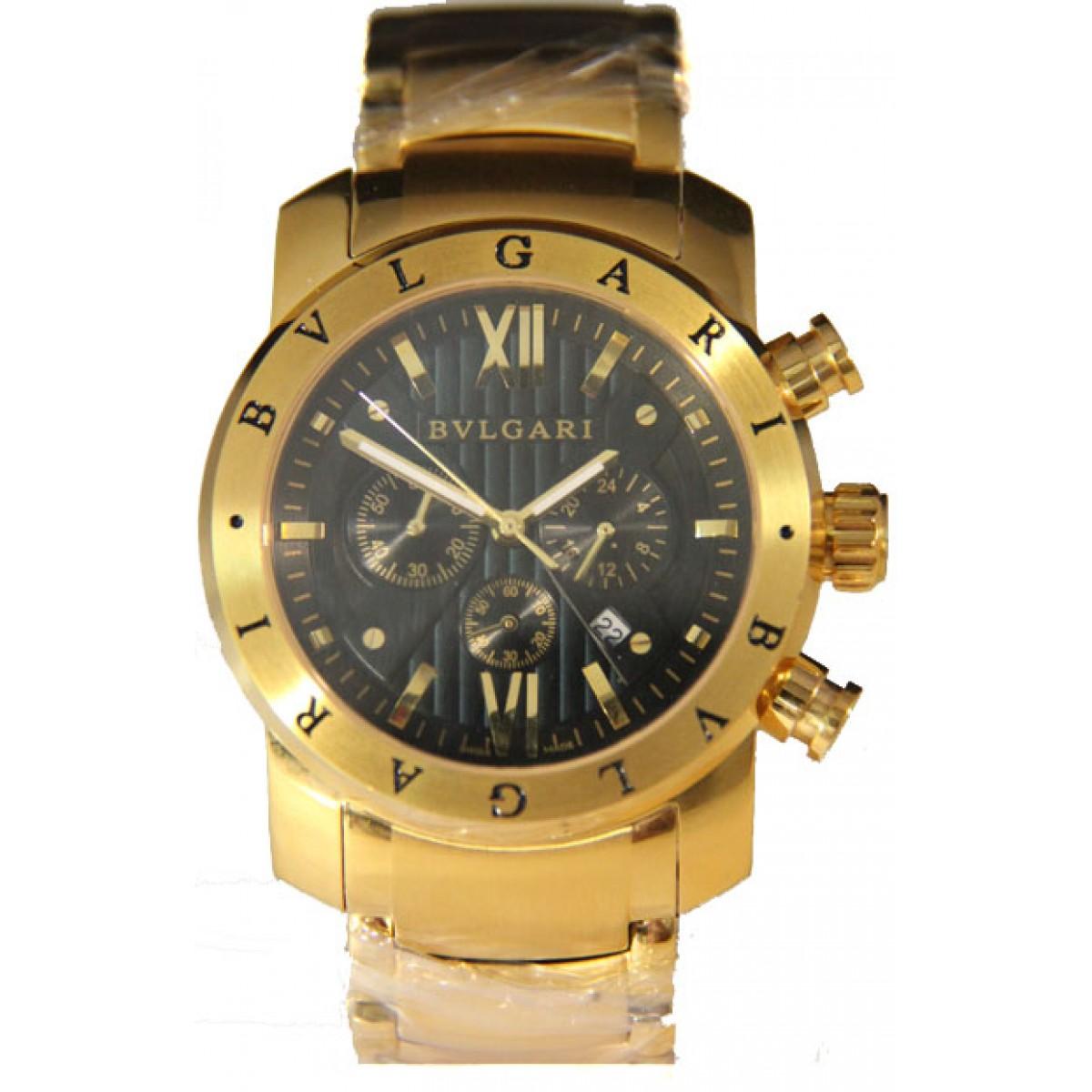 cade0147dee Relógio Réplica Bulgari Homem De Ferro Dourado Preto