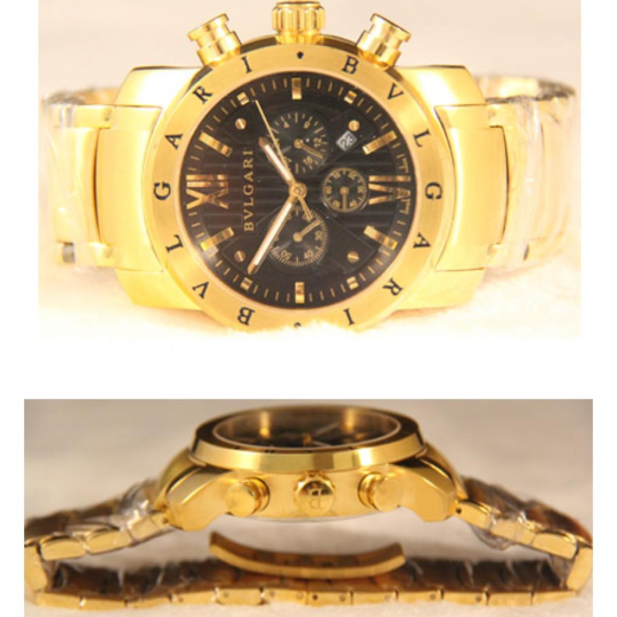 3899bf25713 Relógio Bulgari Homem De Ferro Dourado Preto Réplica ...