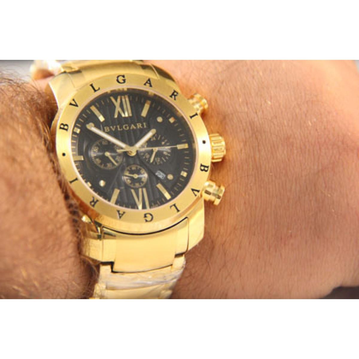 63253ecfc01 ... Réplica Relógio Bulgari Homem De Ferro Dourado Preto