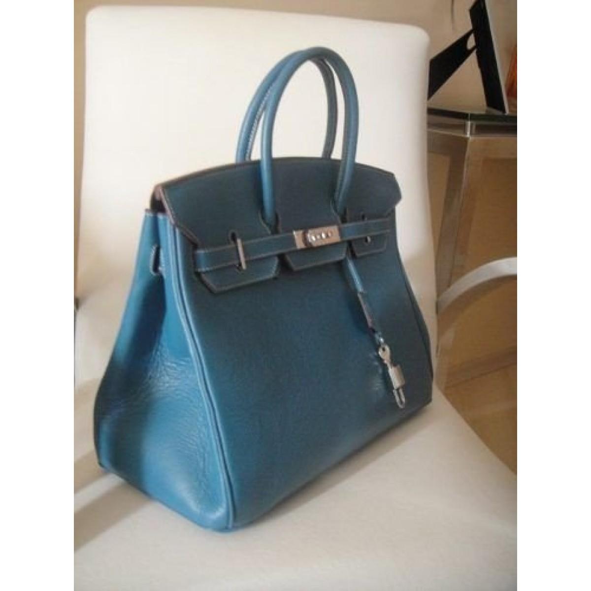 58ccdb81b00 Réplica de Bolsa Hermes Birikin Azul