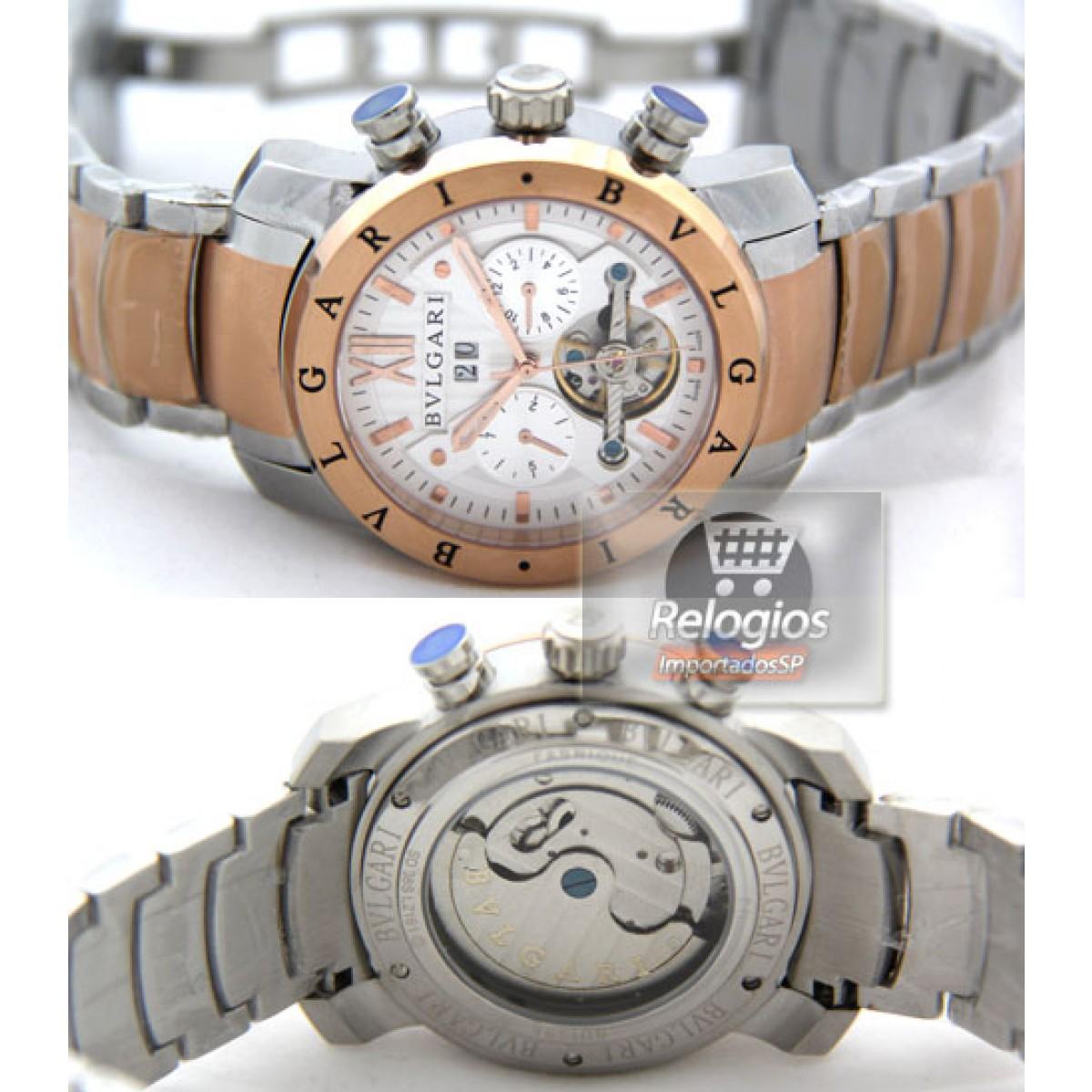 5823f492caa Relógio Réplica Bulgari Homem de Ferro Branco Rosê