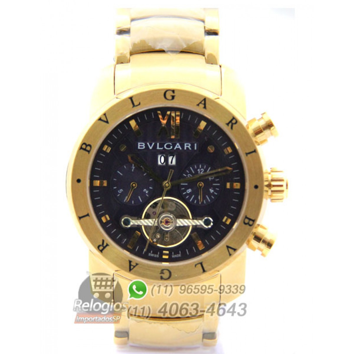 f3e6fd9feca Relógio Réplica Bulgari Homem de Ferro Dourado Preto