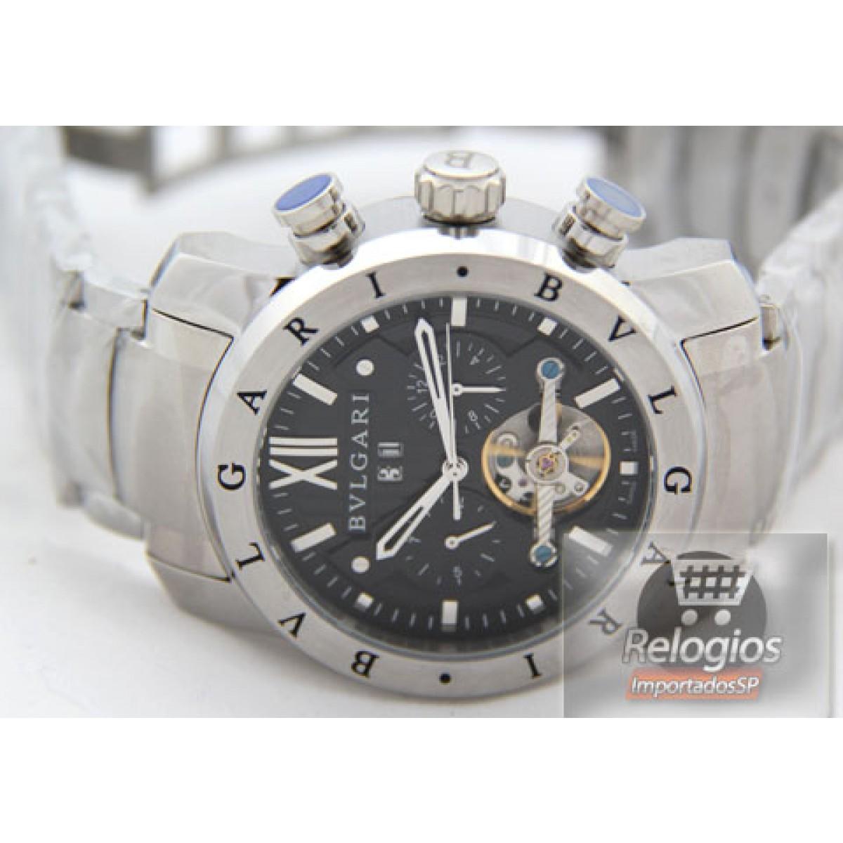a19ae7ad922 Relógio Réplica Bulgari Homem de Ferro Prata Black