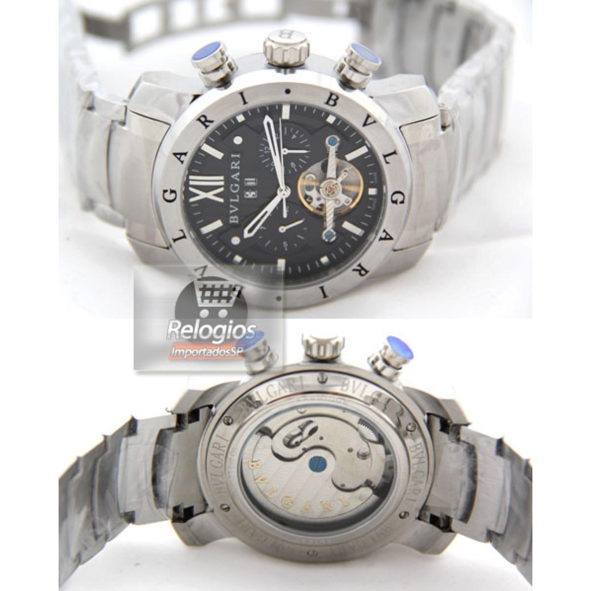 452e95c7c7eac Relógio Réplica Bulgari Homem de Ferro Prata Black