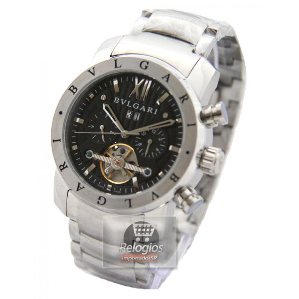 830e76799c3 Relógio Réplica Bulgari Homem de Ferro Prata Black