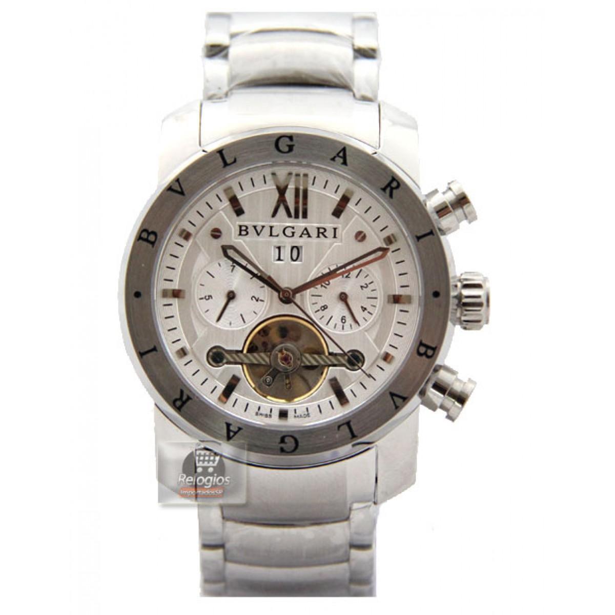 bb2f051876a Relógio Réplica Bulgari Homem de Ferro Prata Branco