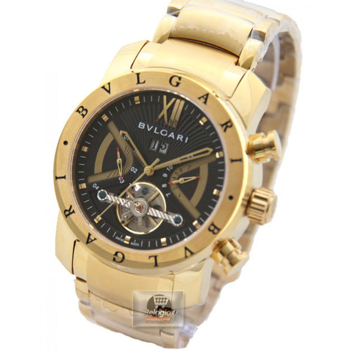 5df9a9f7ca8 ... Mercado Livre. Relogio Bvlgari. Relógio Réplica Bulgari Homem de Ferro  Preto Dourado Réplicas de Relógios Bulgari RELÓGIOS
