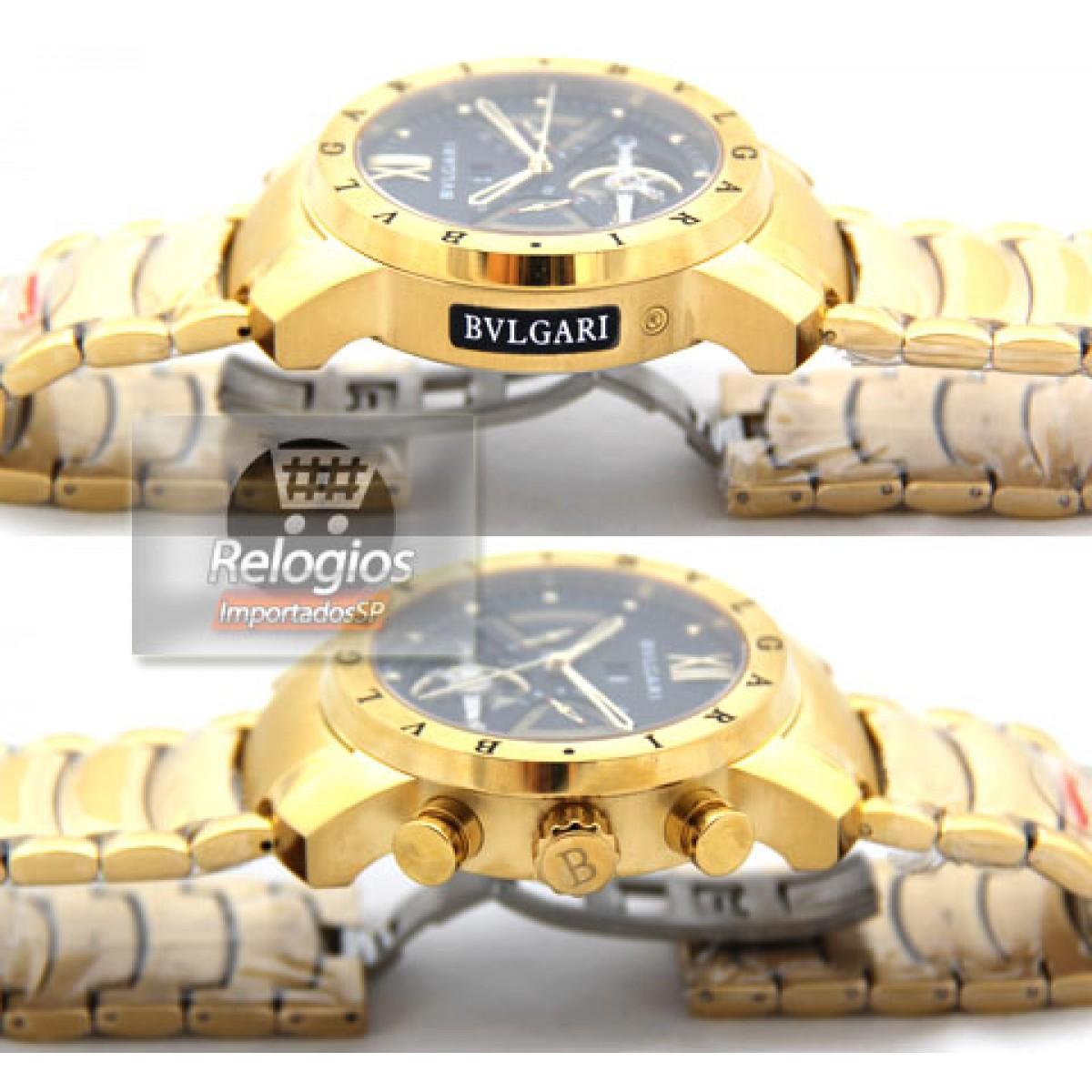 Relógio Réplica Bulgari Homem de Ferro Preto Dourado dbe032b1b3