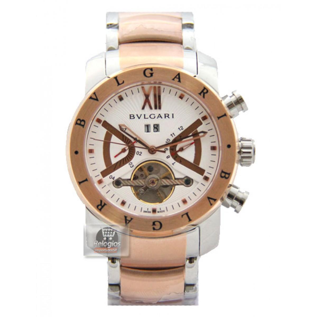 c7821fe6fb96f Relógio Réplica Bulgari Homem de Ferro Rosê Branco