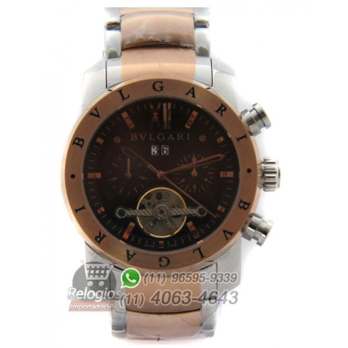 Relógio Réplica Bulgari Homem de Ferro Rosê New Limited 86b4802c97
