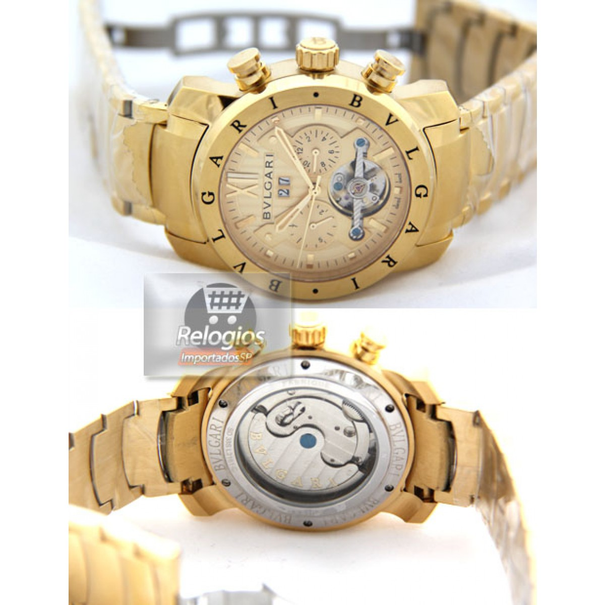 1763b6ce379 Relógio Réplica Bulgari X Men Gold