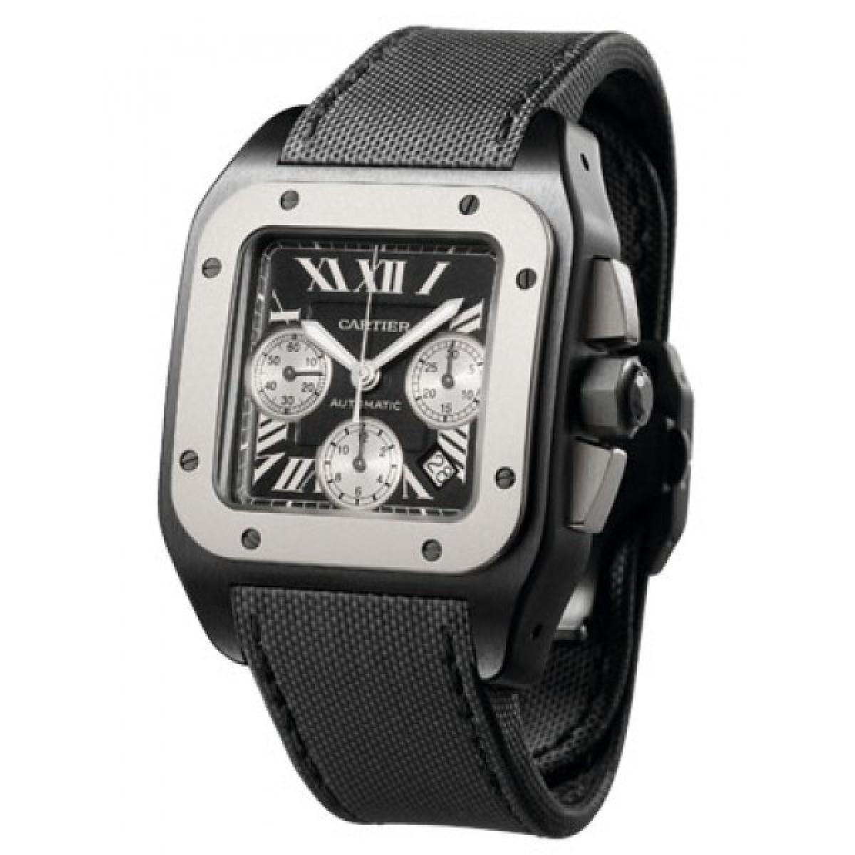 4747eb0b6fb Relógio Réplica Cartier Santos 100 Black Steel