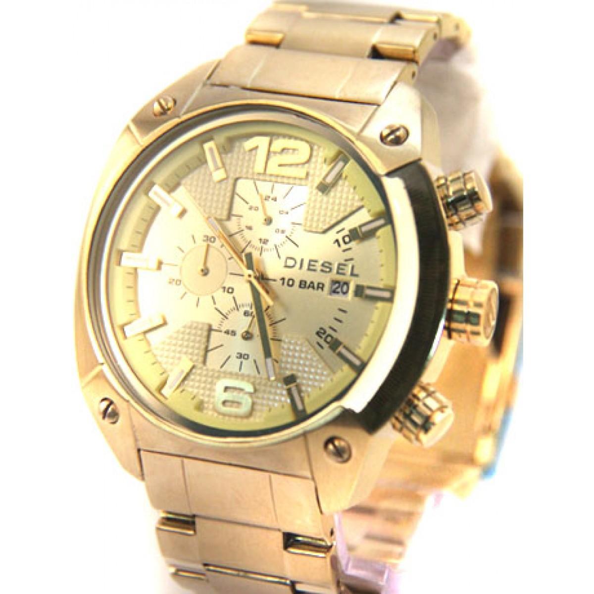 46846a4dc06b7 Relógio Réplica Diesel 10 Bar Gold