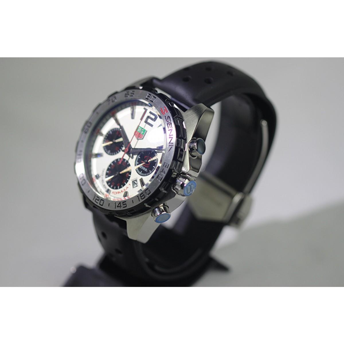cba24080a2c Réplica de Relógio Tag heuer Airton senna preto mostrador branco