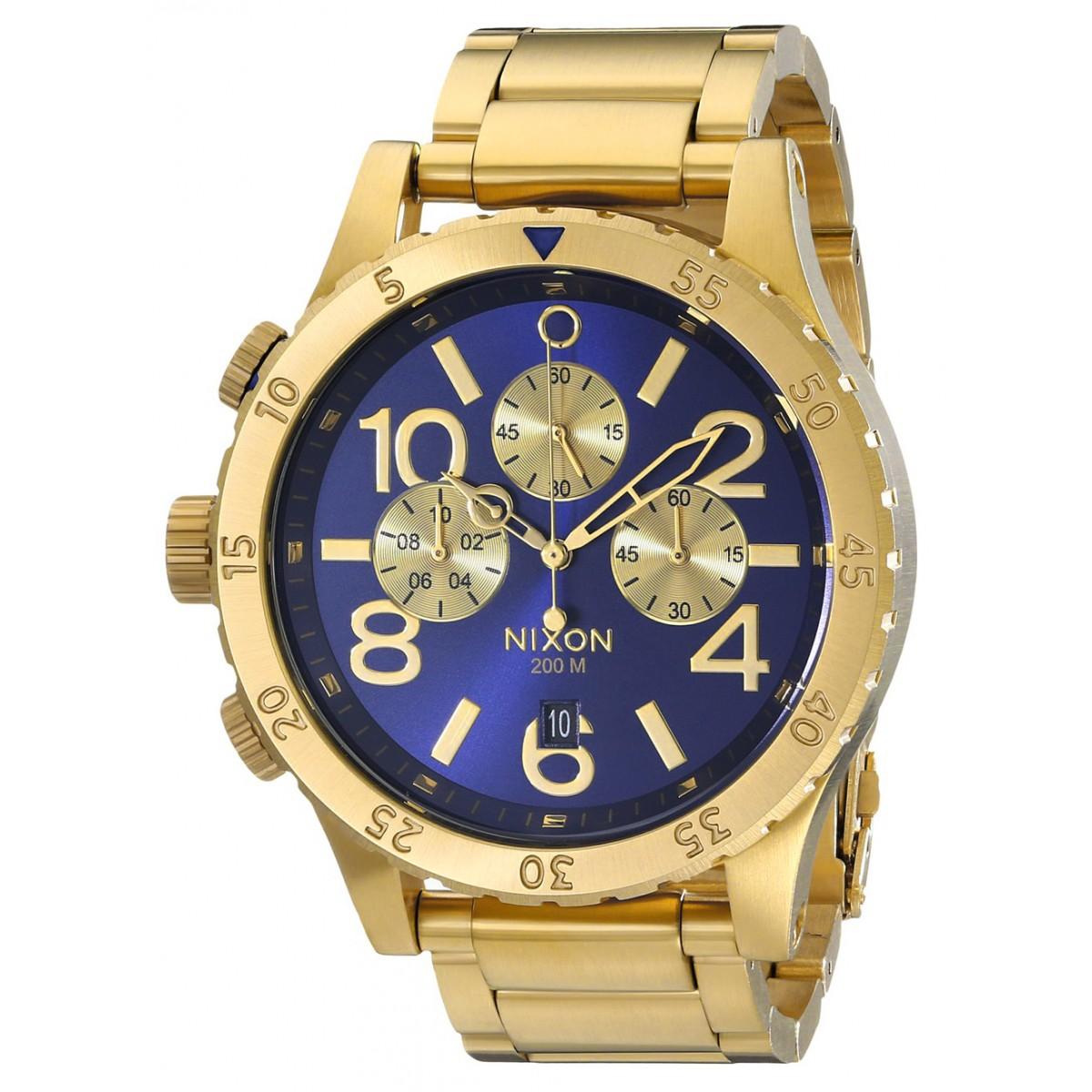 d552c804bc3 Relógio Réplica Nixon 48-20 Chrono Dourado Azul Sunray