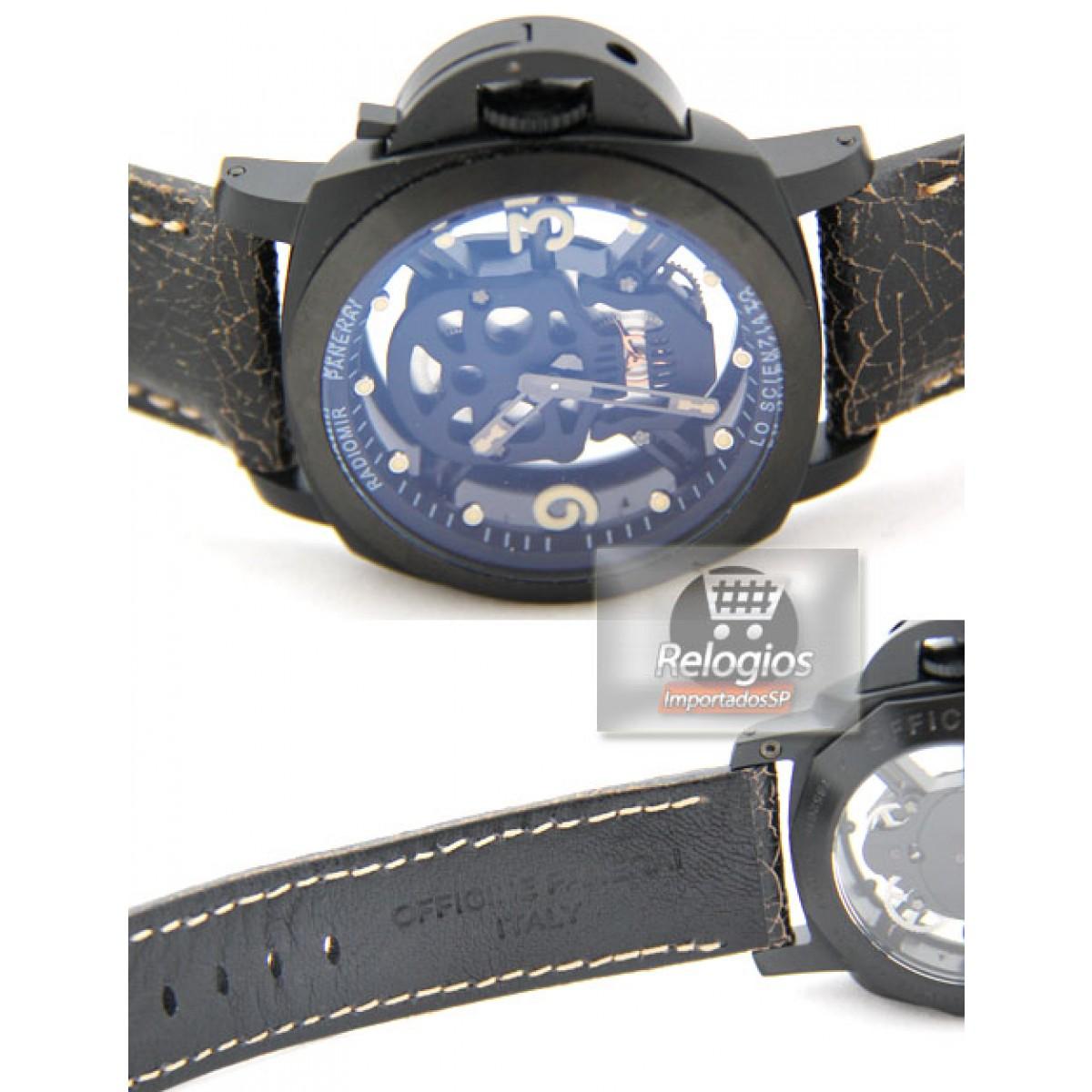 ba65f047e7f Relógio Réplica Panerai Radiomir Caveira Limited Black