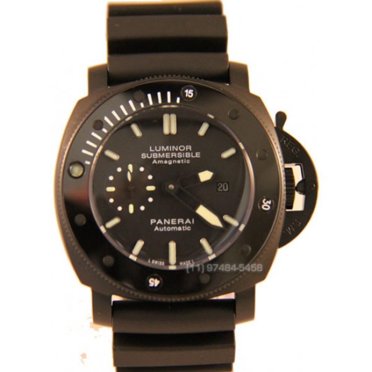b2a0c423513 Réplica de Relógio Panerai Submersible Preto Cerâmica