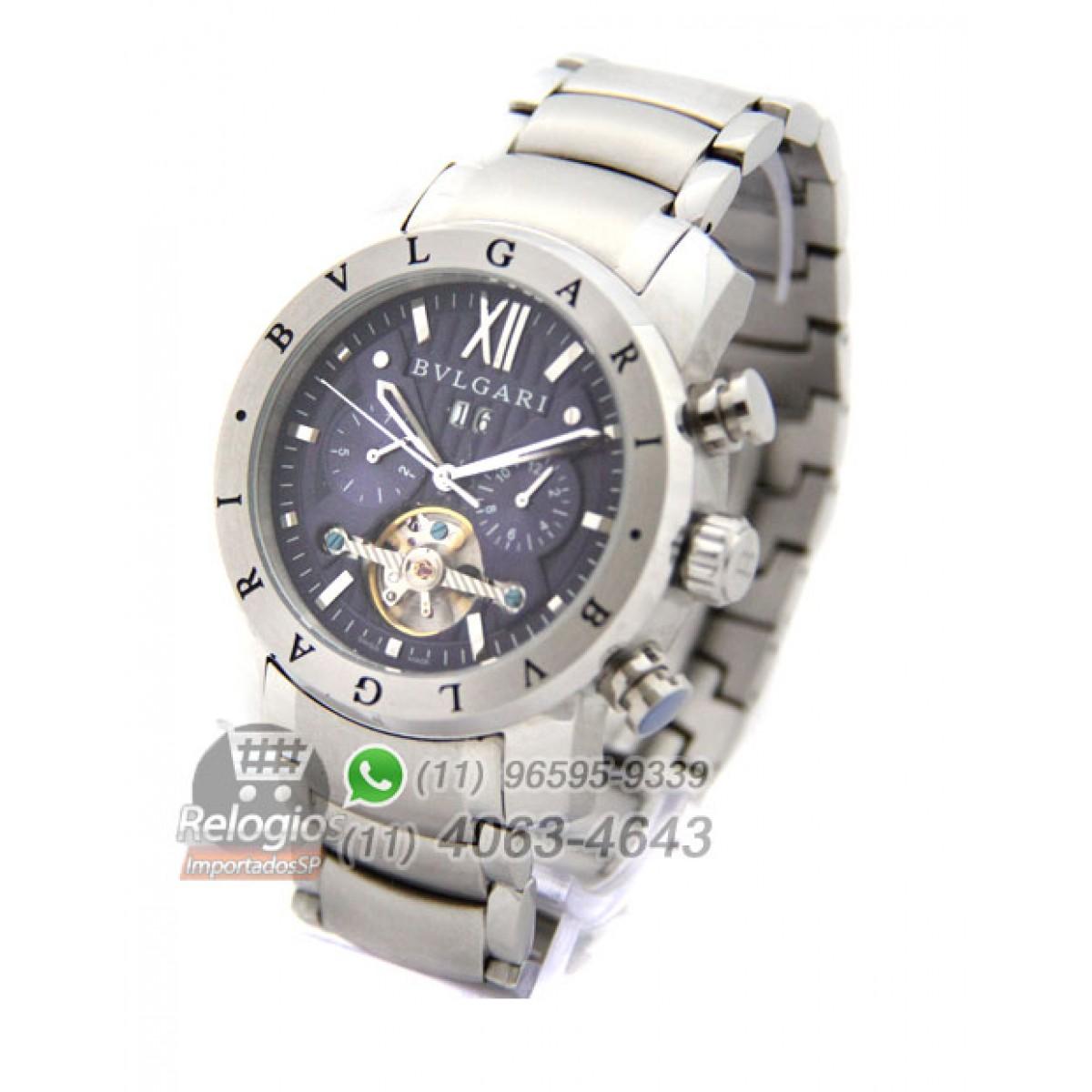 e0c60b4aab8 Relógio Réplica Bulgari Homem de Ferro Prata Azul