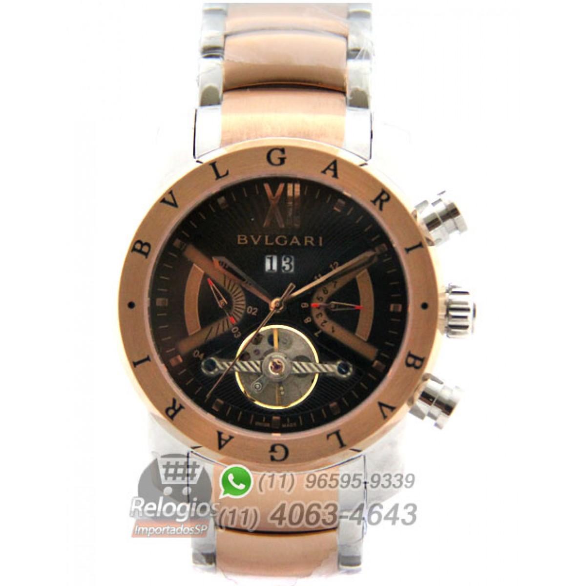 63398bc516d Réplica de Relógio Bulgari Homem de Ferro Rosê