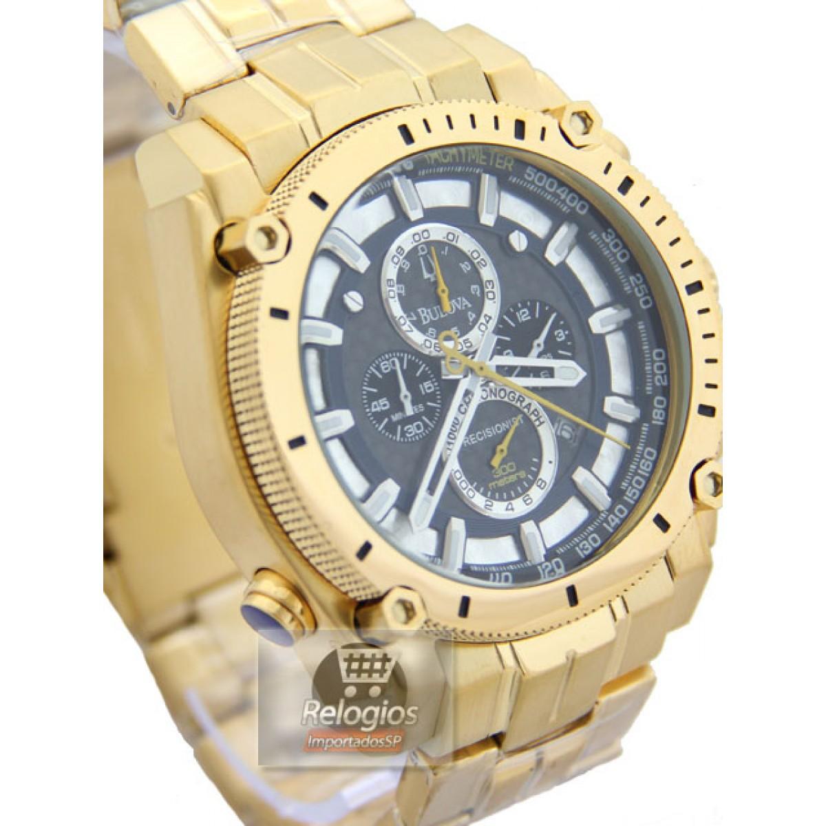 77de53f9ba1 Relógio Réplica Bulova 96b175 Gold Black