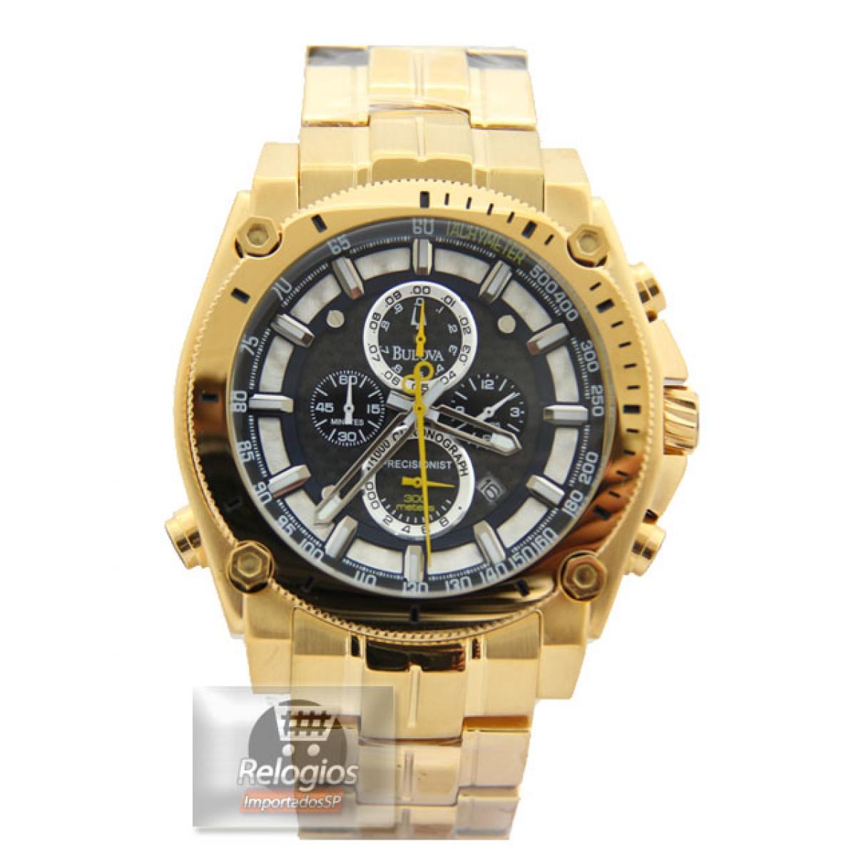 dfb70229bec Relógio Réplica Bulova 96b175 Gold Black