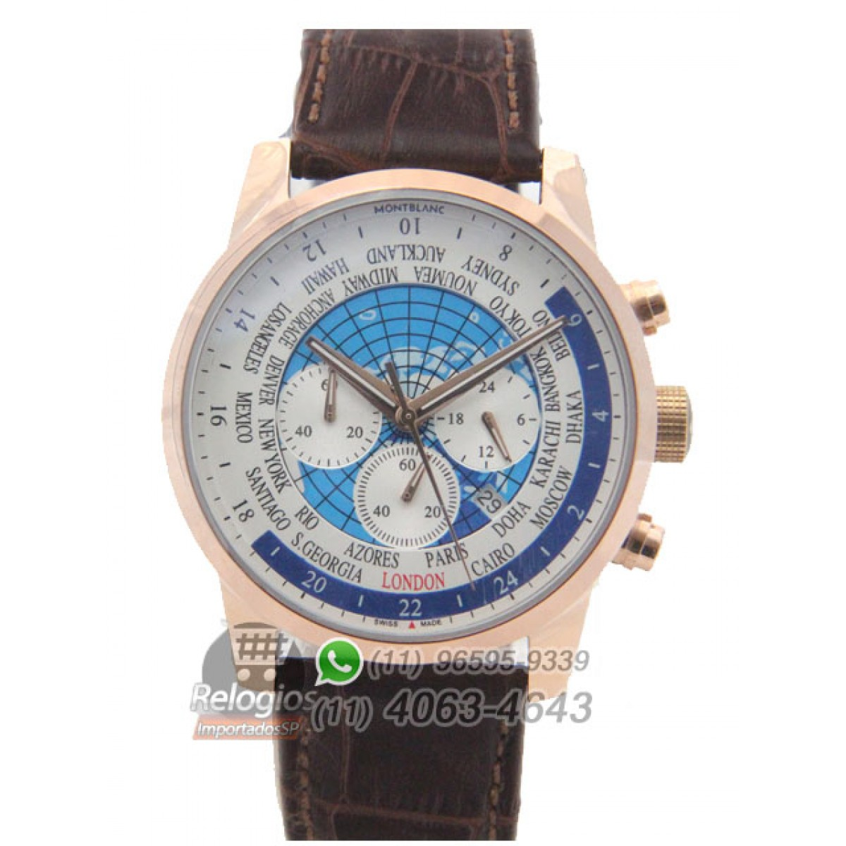 bb3e2e2ad3b Espiar · Relógio Réplica Montblanc Chronograph Mundial