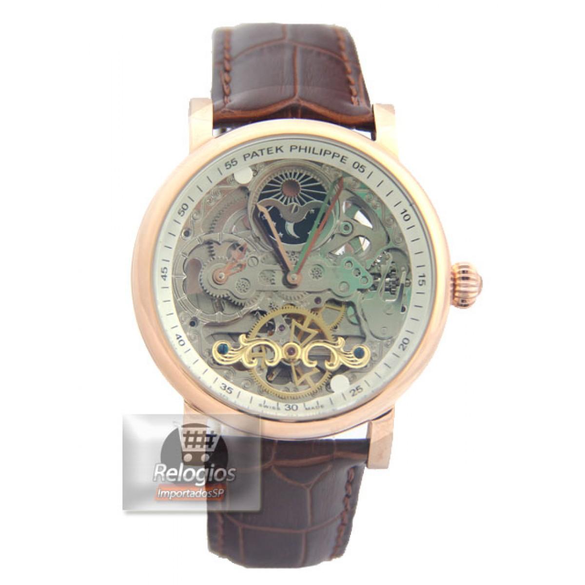 880ff048ef0 Relógio Réplica Patek Philippe Esquelete Marrom