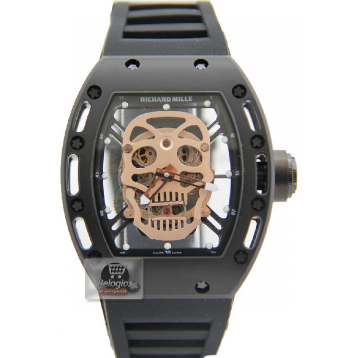 98ab118bd29 Relógio Richard Mille Edition Limted Caveira Black