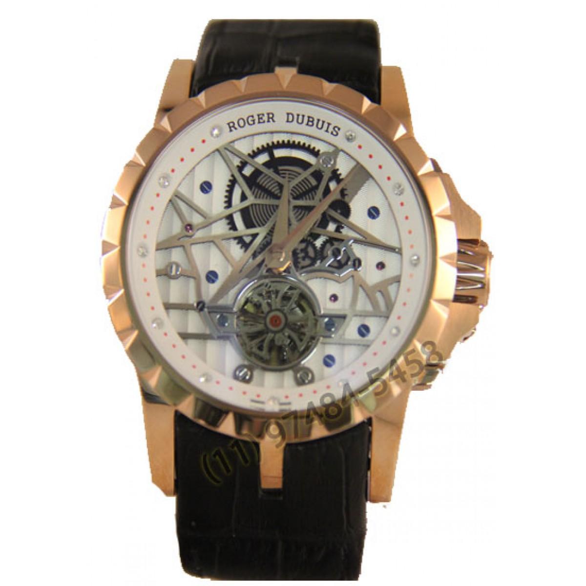 2a6485d128a Relógio Réplica Roger Dubuis Excalibur Esquelete Rose Branco