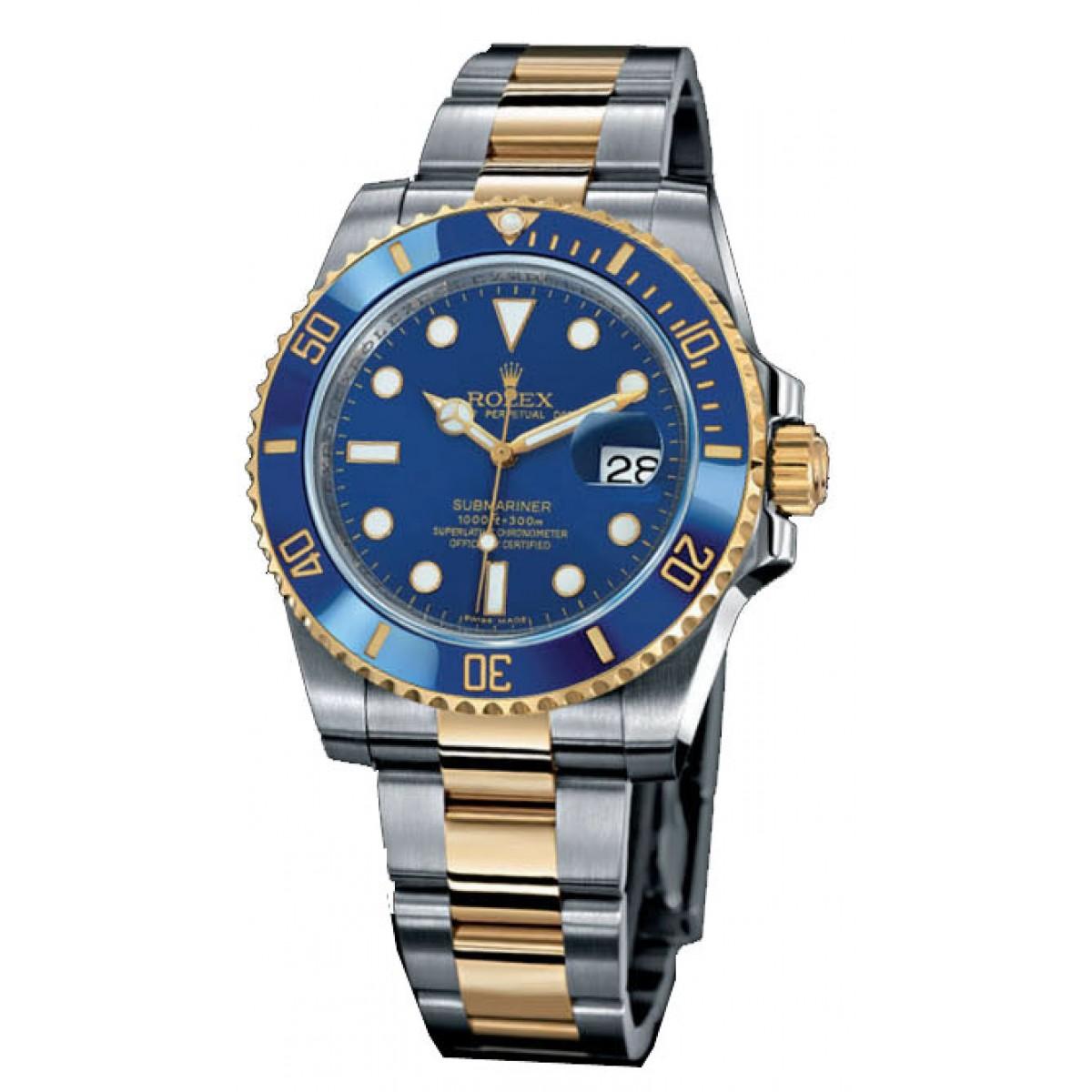 e725730f736 Relogio Réplica Rolex Submariner Blue Gold