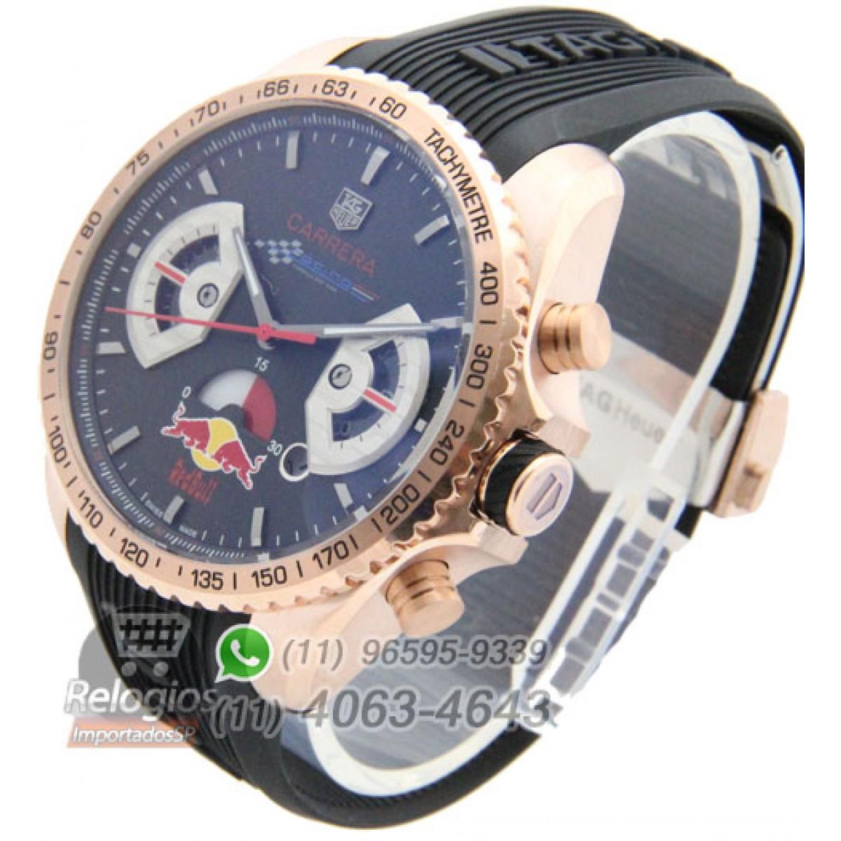 b4223f32440 Relógio Réplica Tag Heuer Carrera Red Bull Rosê Preto