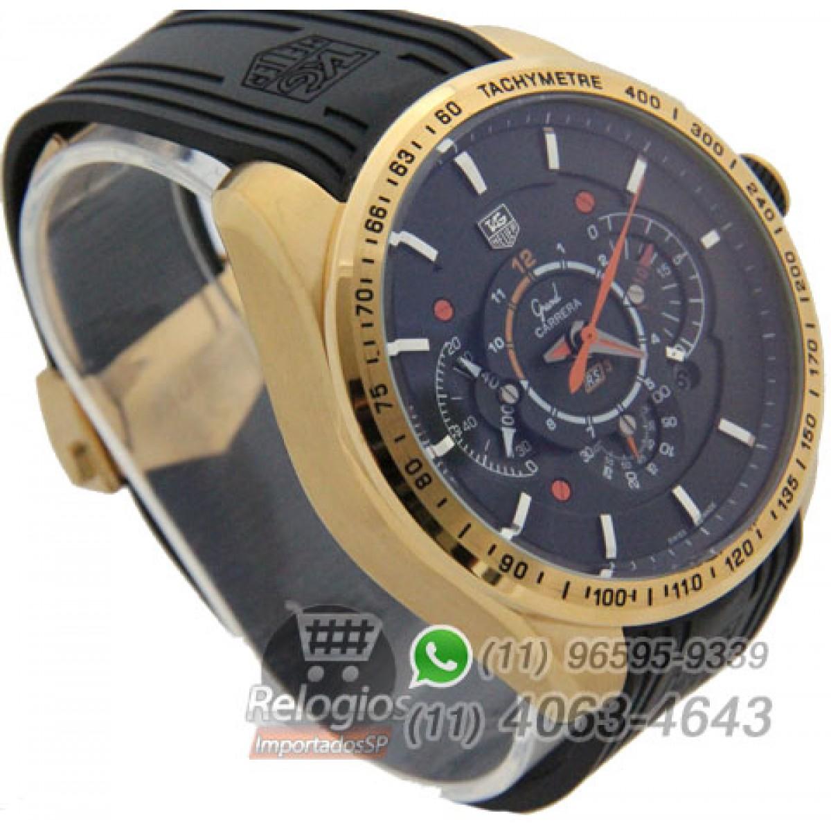66bfd5c0c10 Relógio Réplica Tag Heuer Grand Carrera Rs3 Preto Laranja ( New )