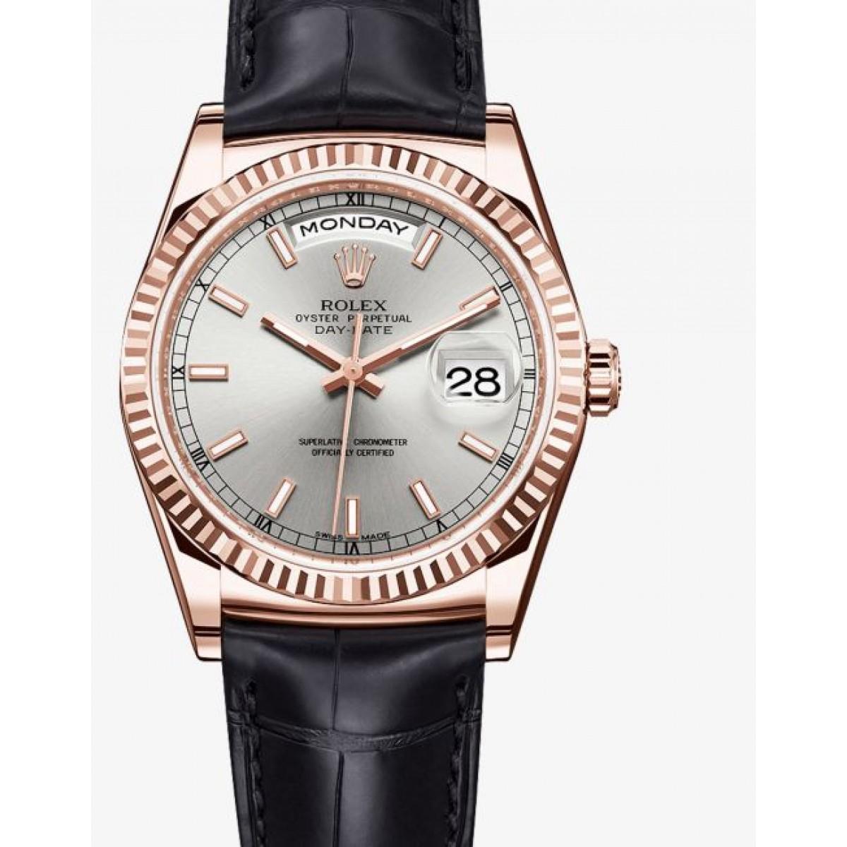 996e839a2b2 Relógio Réplica Rolex Day Date Black Gold White