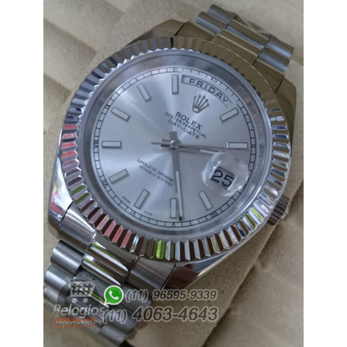 5b266080b9e Relógio Réplica Rolex Day Date Cinza