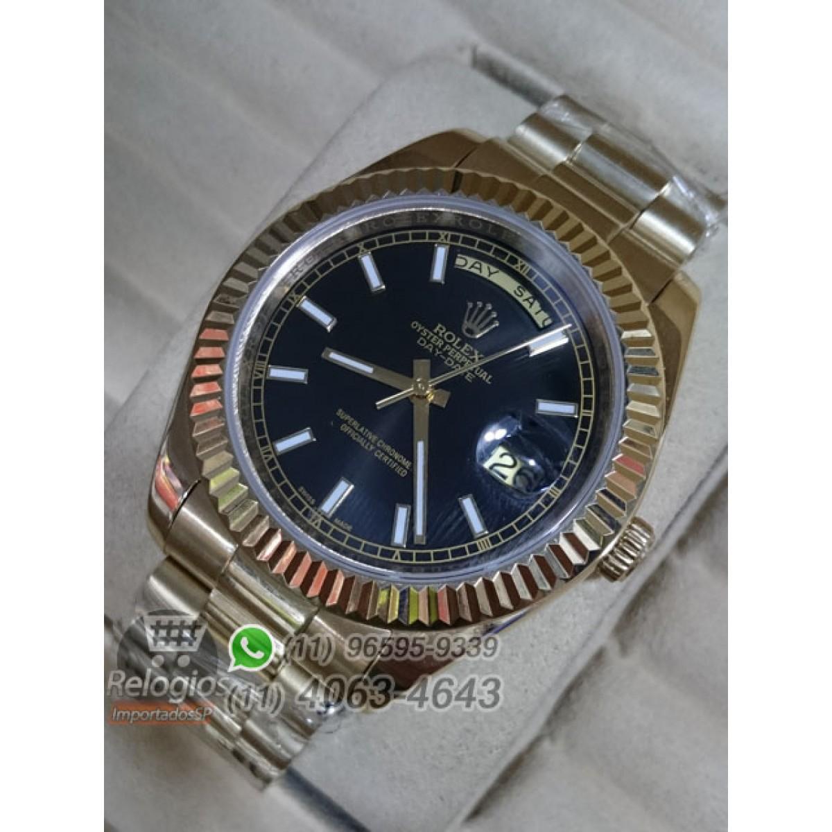 b41dfaa4e8c Relógio Réplica Rolex Day Date Dourado Preto