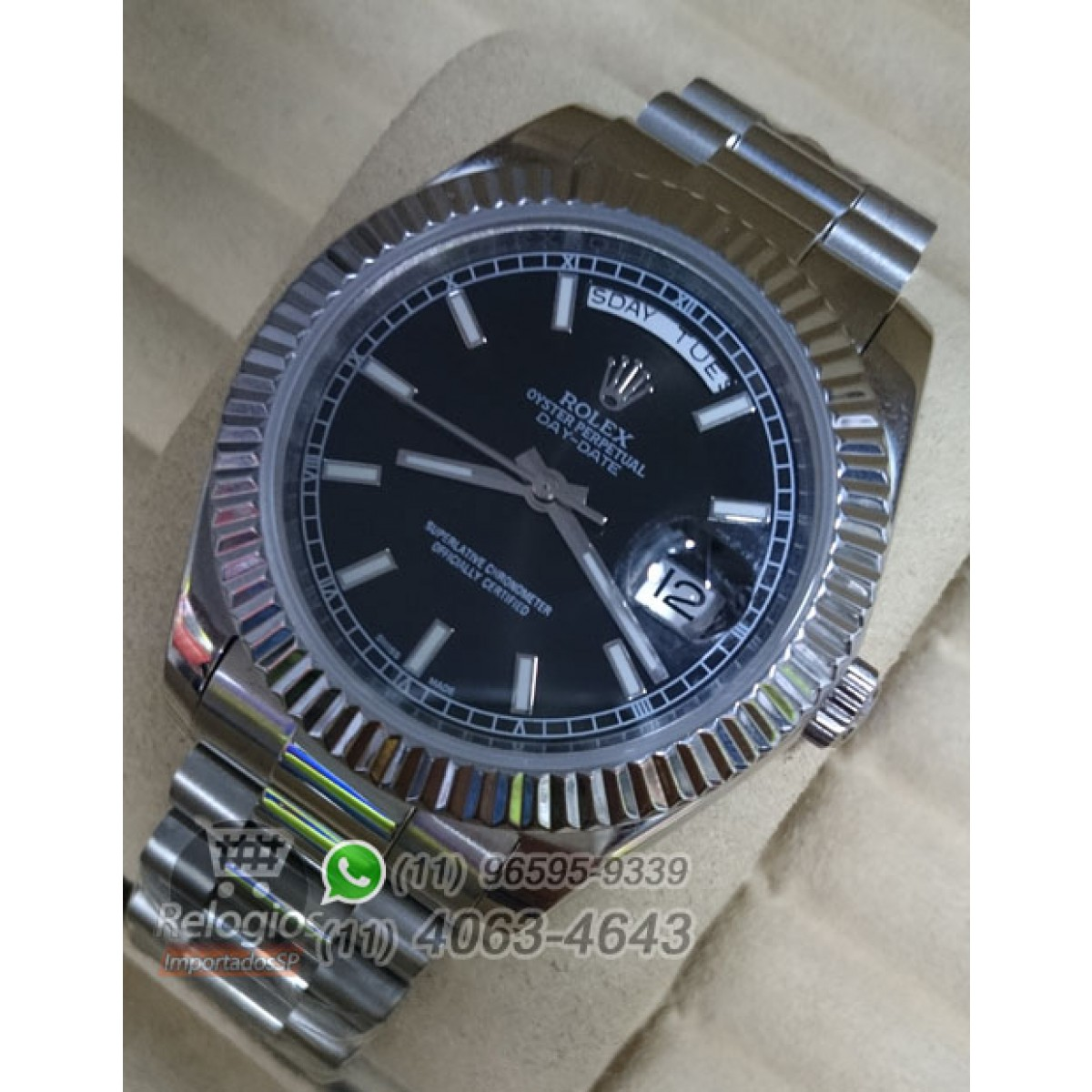 77e72f2903a Relógio Réplica Rolex Day Date Prata Preto