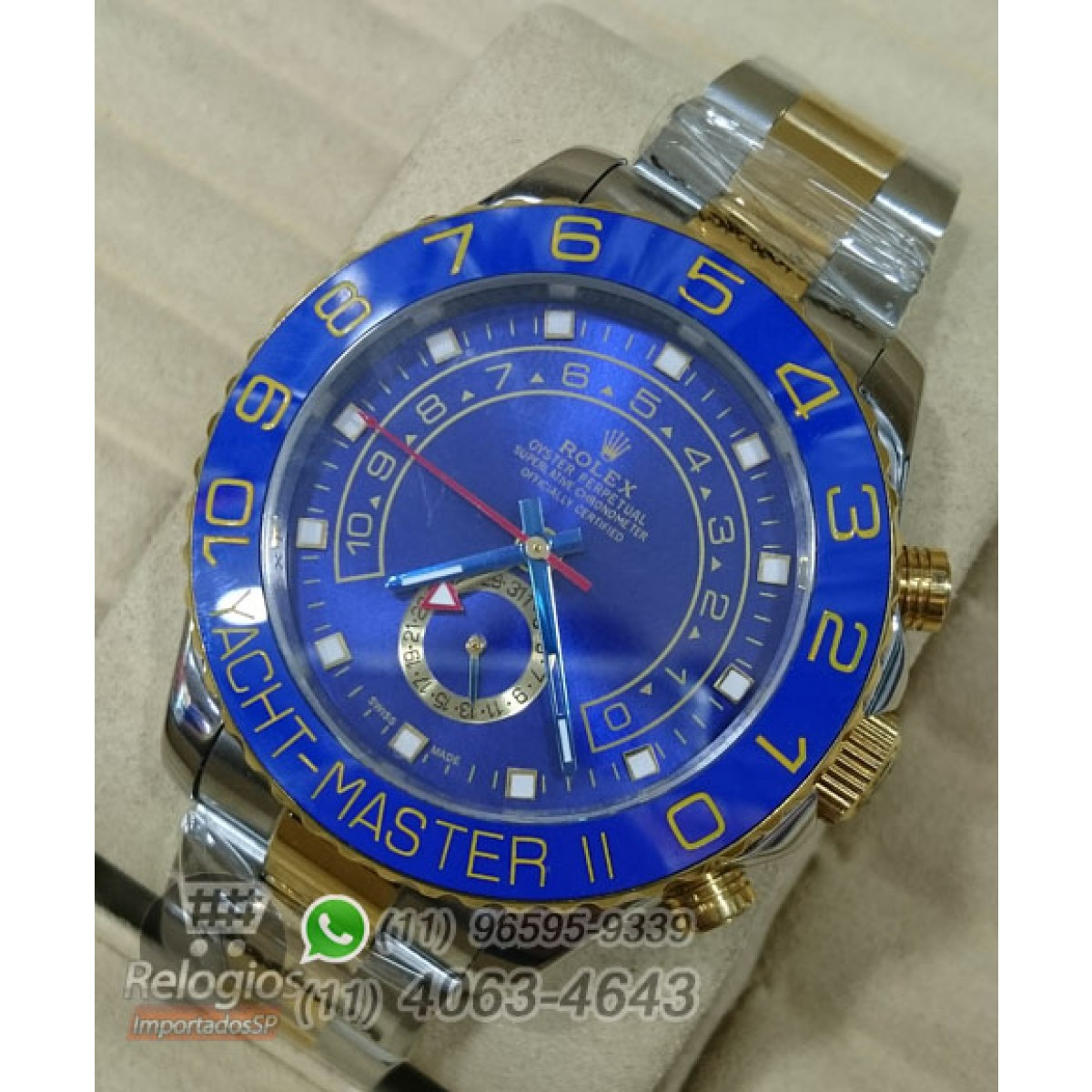 b5716ea7dcc Relógio Réplica Rolex Oyster Yacht Master II Misto Azul ( LANÇAMENTO ...