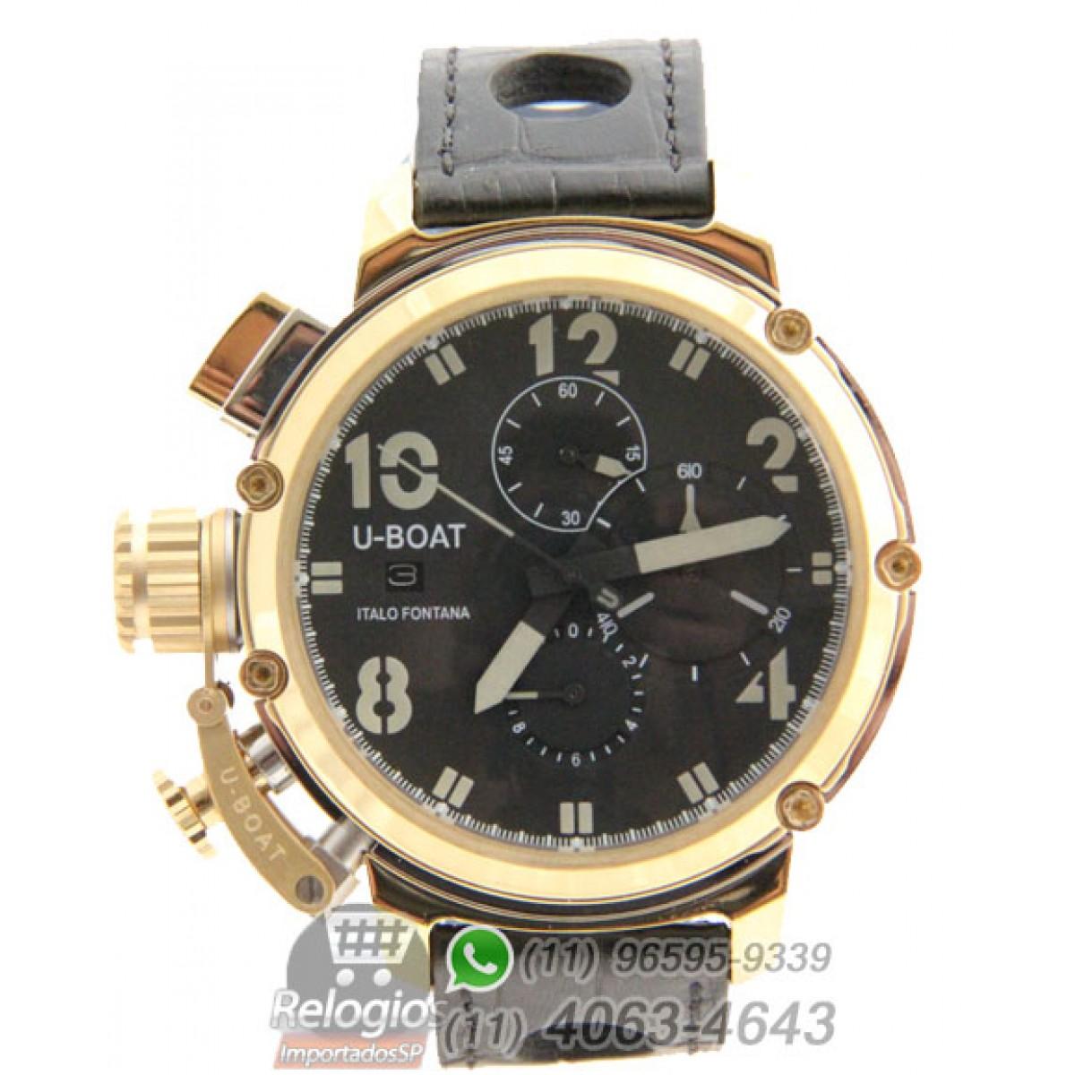 0ca1c114a73 Relógio Réplica U-boat Italo Fontana Dourado Black Limited Edition