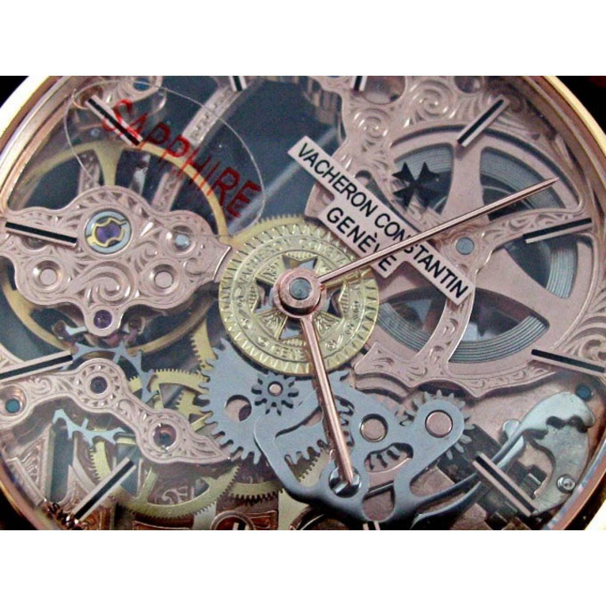 210eec5bc37 Relógio Réplica Vacheron Constantin Esqueleto Rose Gold Edition Limited