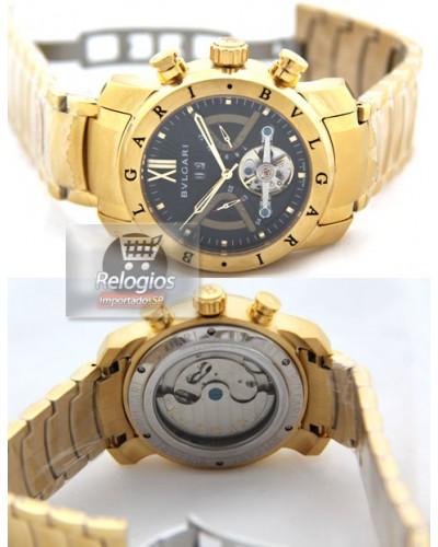 Relógio Réplica Bulgari Homem de Ferro Preto Dourado edbb0feb08