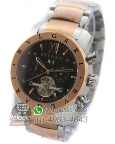 Réplica de Relógio Bulgari Homem de Ferro Rosê 811873d160