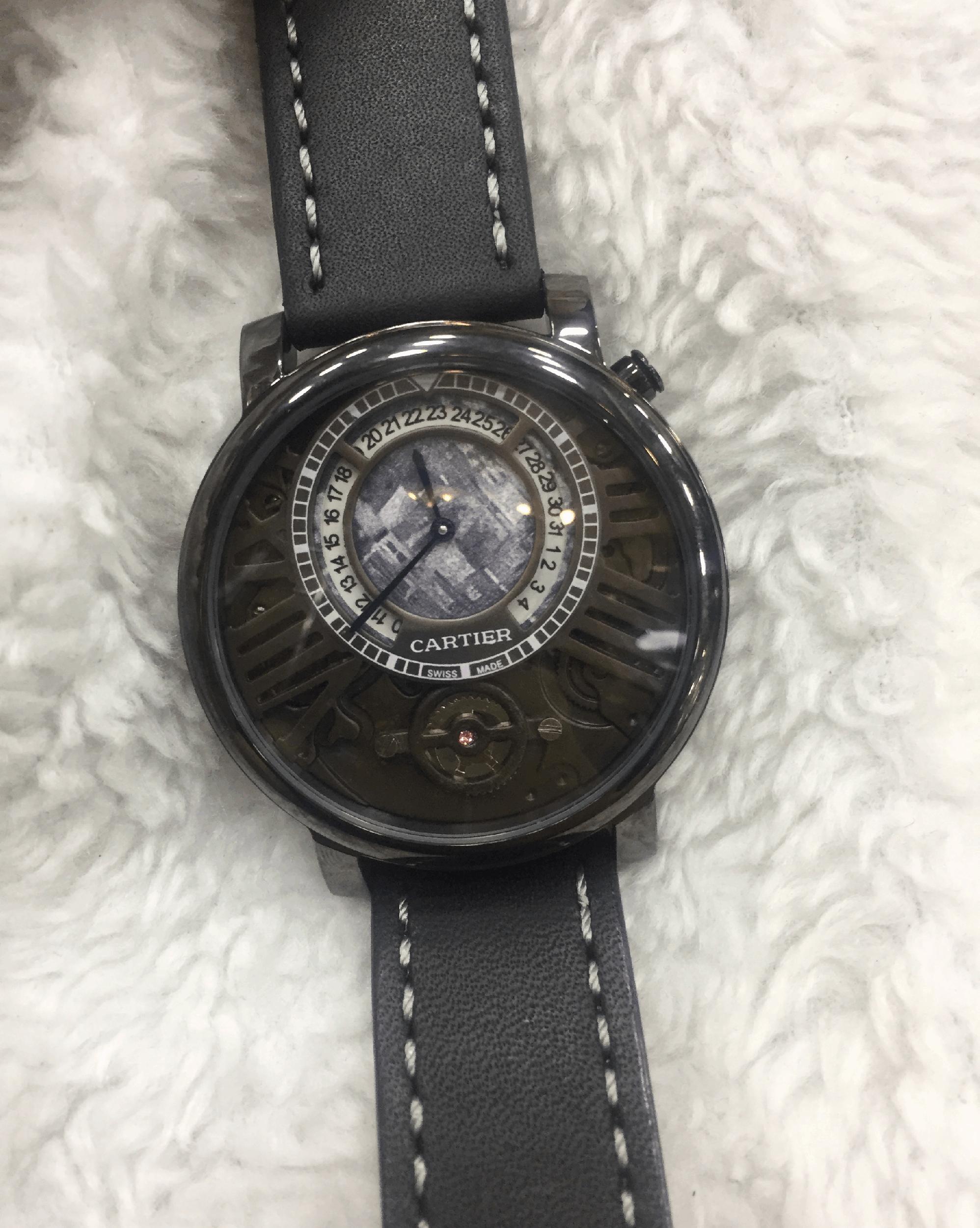 Replica de Relógio Cartier AU750 Couro Preto