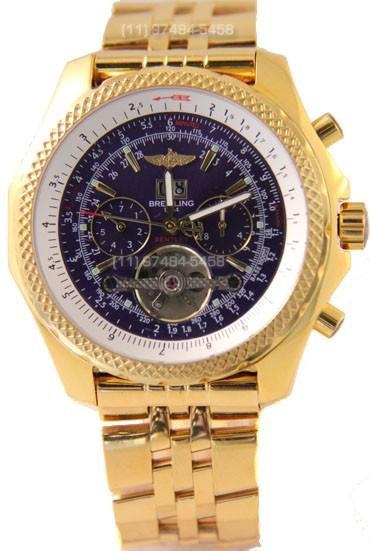 Relógio Réplica Breitling Bentley 1884 Dourado Azul