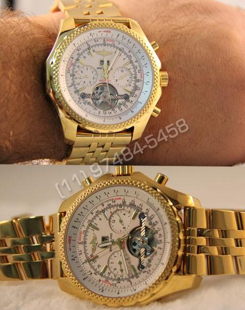 Relógios Réplica Breitling Bentley 1884 Dourado Branco