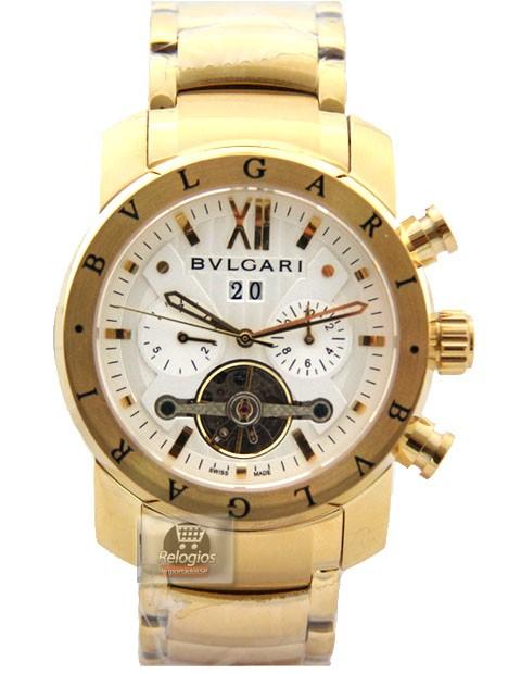 Relógio Réplica Bulgari Homem de Ferro Dourado Branco