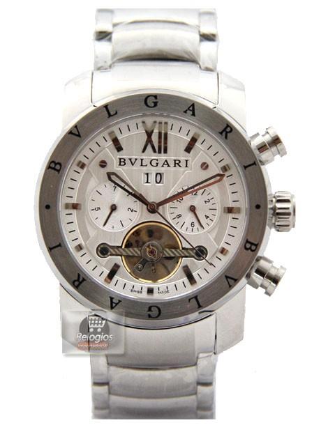 Relógio Réplica Bulgari Homem de Ferro Prata Branco