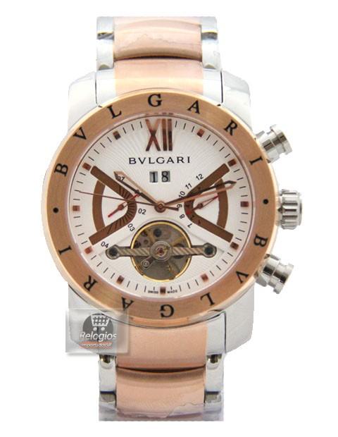 Relógio Réplica Bulgari Homem de Ferro Rosê Branco