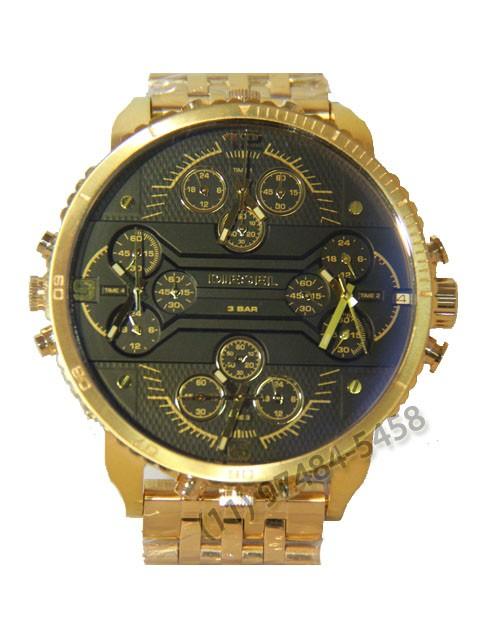 Relógio Réplica Diesel 4 maquinas Dourado Preto